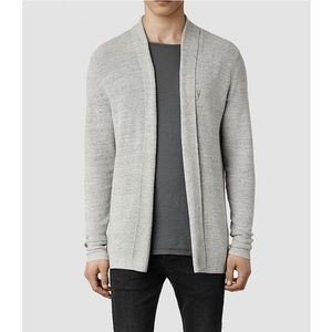 {all saints} marled gray ribbed rosso cardigan